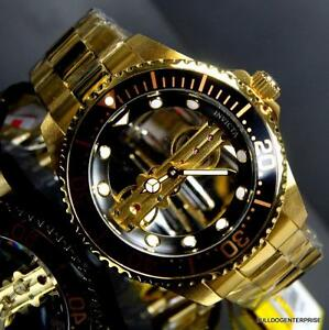 Invicta-Pro-Diver-Ghost-Bridge-Mechanical-Gold-Plated-Skeleton-Black-Watch-New