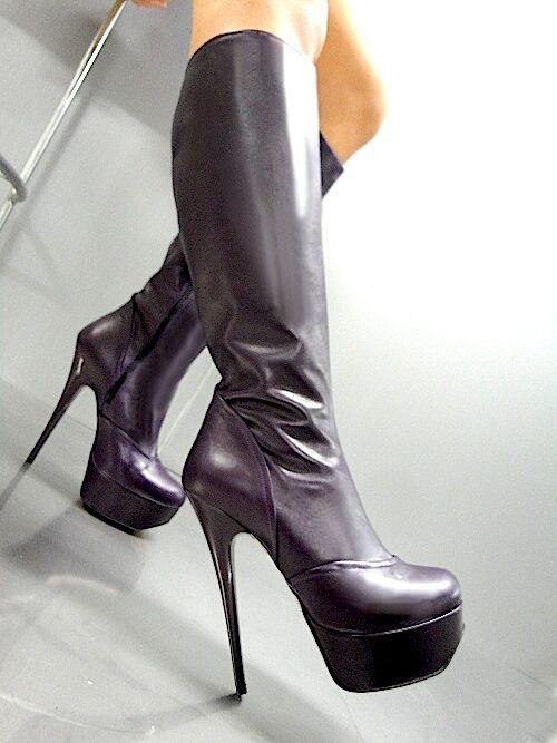 Mori  Platform Heel Knee Stiefel Stiefel Stiefel Leather Pelle lila Lila 38