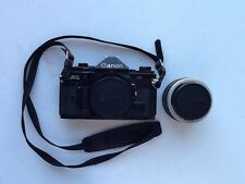 Black Canon A-1 35mm Film Camera 50mm Lens Included Used