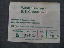 TICKET WERDER BREMEN - ANDERLECHT  08/12/1993  CHAMPIONS LEAGUE