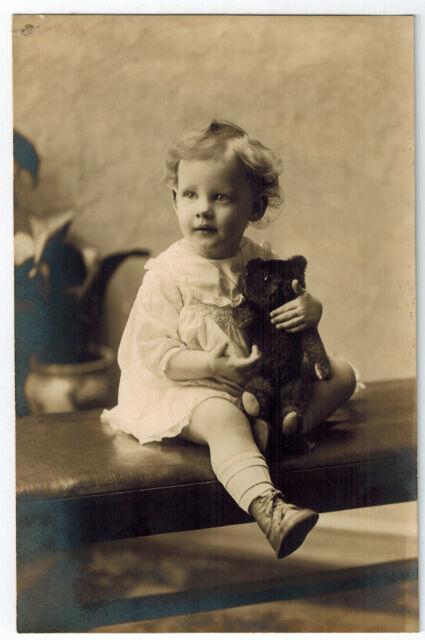 c1920 Girl TEDDY BEAR Jointed Center Stitch STEIFF Vintage ORIGINAL Photograph
