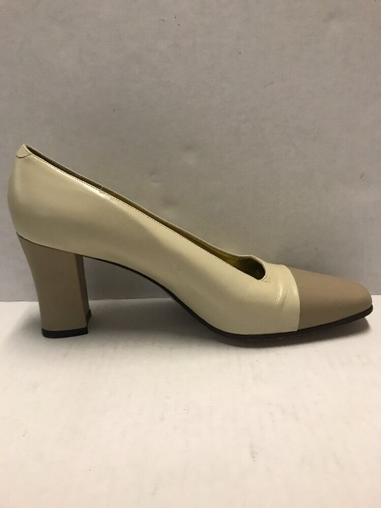 Saks Fifth Avenue Beige Taupe Women's Chunky Leather Heels Size 9.5