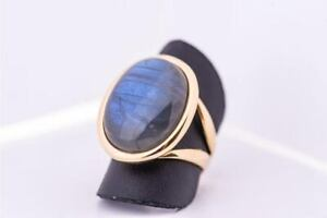 Labradorite Ring 925 Sterling Silver Ring 14K Gold Plated Ring All Size KA-3