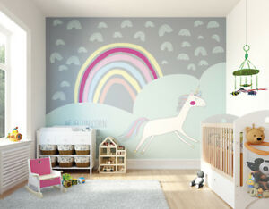 Details About Ohpopsi Unicorn Rainbow Children S Nursery Wall Mural Art