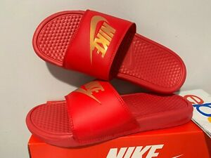 aa918642d Nike Benassi JDI Men s Slide Red Gold Swoosh 343880-602 Men s Size 7 ...