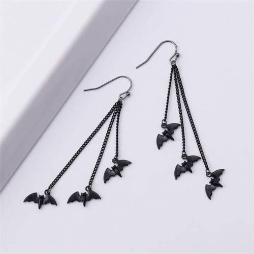 Funny Halloween Bat Earrings Women Black Drop Dangle Hook Ear Stud Jewelry ON