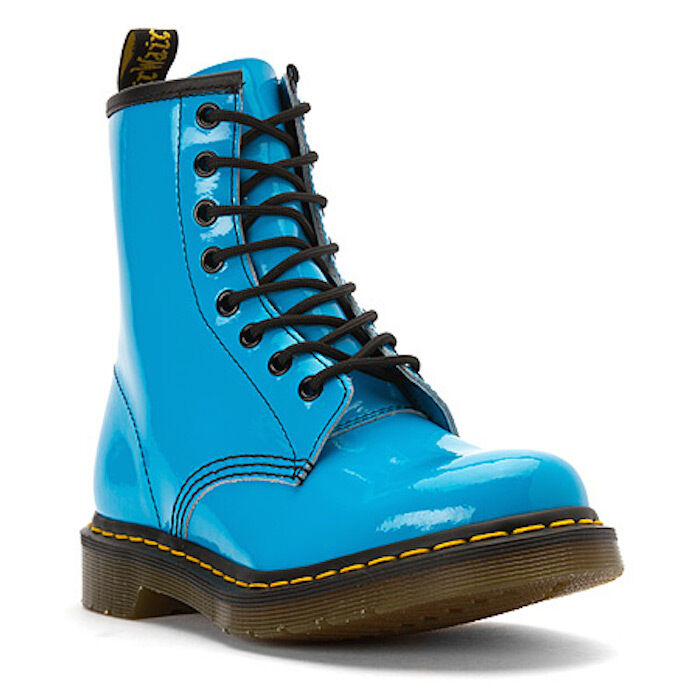Doc Dr. Martens 1460 Sunny Blue Patent Leather Ankle Boots US 6 NEW