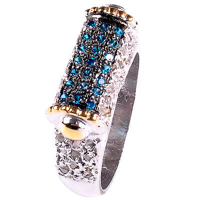 Handmade Blue/raw White Natural Diamond 925 Sterling Silver Wedding Ring Size 7 Fine Jewelry
