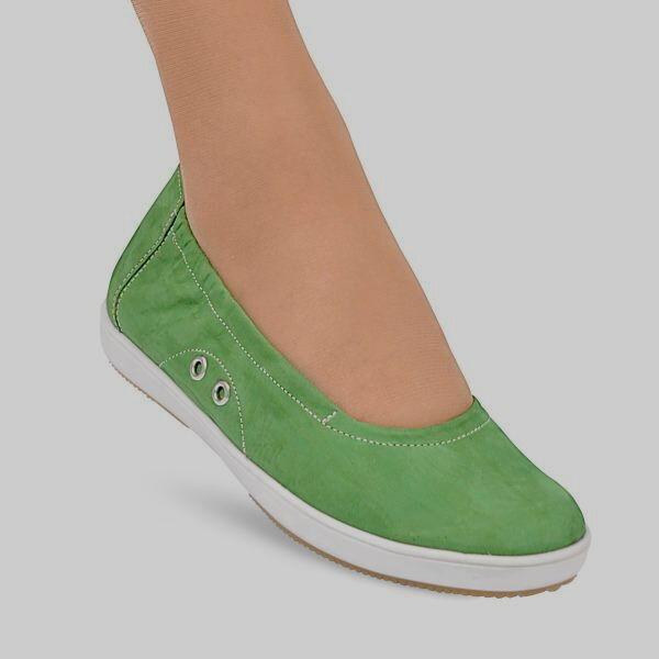 Nubuk 3,5 Slipper Ballerinas grün Gr 3,5 Nubuk SEMLER Einlagen 36 3 1/2 NP ad1372