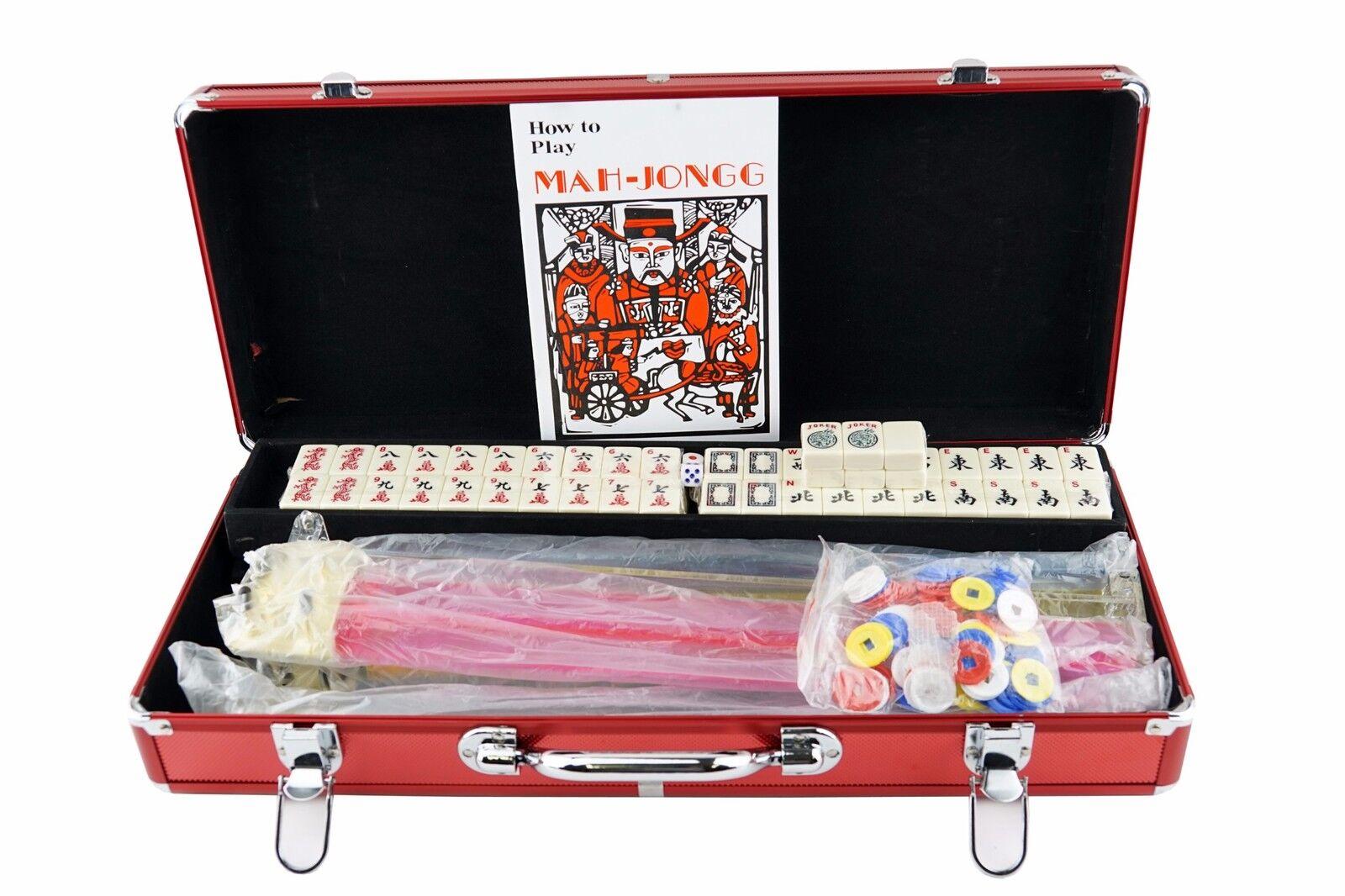 American Mah Jong conjunto completo de 166 166 166 mAh Jongg Azulejos occidental con empujadores Rojo + Mesa Mat  perfecto