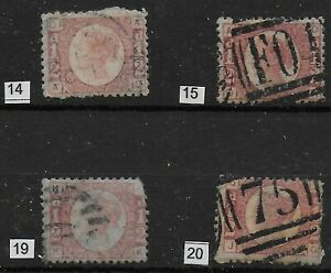 SG48-1-2d-Rose-Red-Plates-14-15-19-20-A-Good-Fine-Used-Group-Of-4-Ref-03121