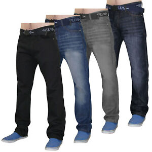 Mens-Jeans-Regular-Fit-Denim-Trousers-Pants-With-Free-Belt-All-Waist-Sizes-28-42