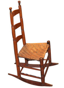 antique early new england shaker type rocking chair splint seat