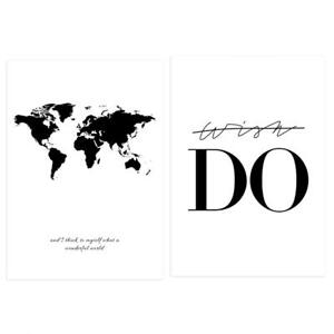 Details about JQ_ Black & White World Map Do Canvas Wall Painting Picture  Poster Home Decor