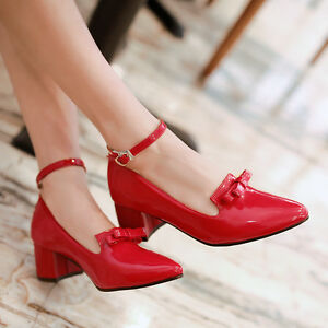 Womens-Patent-Leather-Ankle-Buckle-Pointed-Toe-Shoes-Pump-Mid-Heel-Plus-Size-New