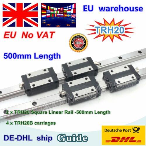 EU 2Pcs TRH20 500mm Square Linear guide rail for CNC Router+4pcs Carriages Block
