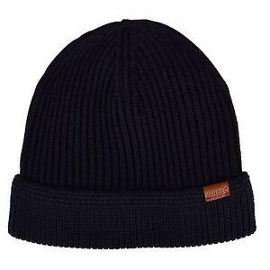 Kangol-Homme-Bonnet-Cotele-en-Tricot-Bleu-fonce-hiver-chaud-accessoires