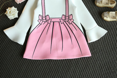 Toddler Kids Baby Girls Long Sleeve Cotton Dress Party Wedding Princess Dresses