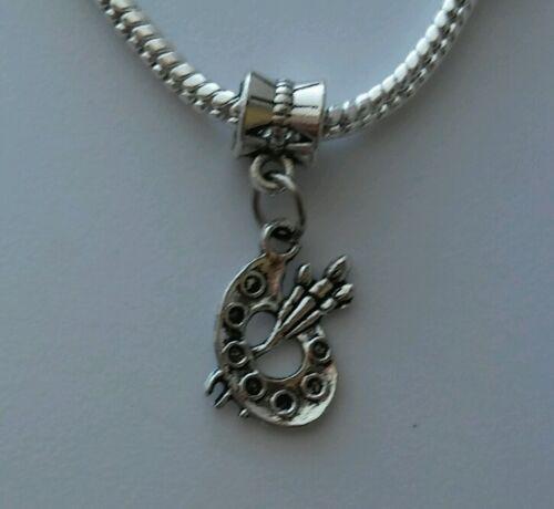 Artist Paint Palette Painter Art Dangle Bead for Silver European Charm Bracelets