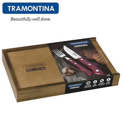 Cookware, Dining & Bar Strict Tramontina Steak Cutlery Set 4pcs.steak Knife Fork Set Churrasco Premium Bueno New Varieties Are Introduced One After Another Cutlery Sets & Canteens