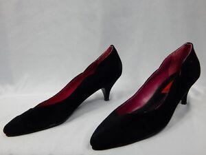 Nos-Vintage-80s-San-dee-Black-Suede-Scalloped-Leather-Heels-Shoes-Kitten-Retro-6