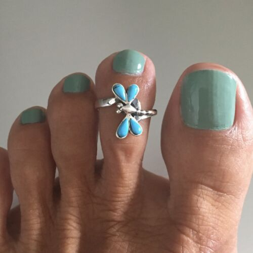 Argent sterling synthétique turquoise dragonfly Ring Toe Ring