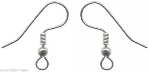 24 each Stainless Steel Ear Wires Hooks with Bead /& Coil end ~ Earrings 12 pr