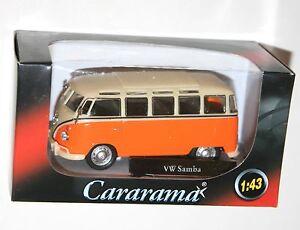 Cararama-VW-Volkswagen-Samba-Bus-Orange-Modele-Echelle-1-43