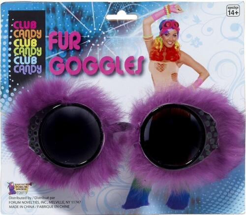 Fur Goggles Club Rave Neon 80/'s Fancy Dress Halloween Costume Accessory 4 COLORS