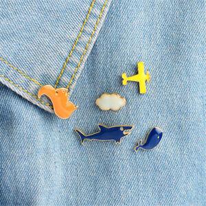 1pc-Cartoon-aircraft-cloud-shark-whale-squirrel-Brooch-Pins-jacket-Pin-Badge-TB
