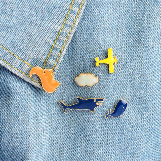 1pc Cartoon aircraft cloud shark whale squirrel Brooch Pins jacket Pin Badge vK