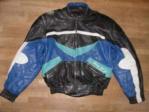 Herren-Motorrad-Kombi-Lederjacke-Biker-Jacke-in-schwarz-bunt-Gr-50
