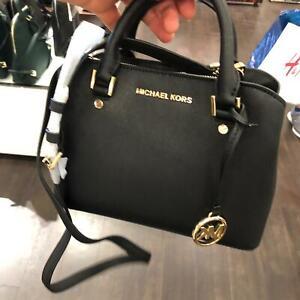 Details about MICHAEL KORS SAVANNAH SMALL SATCHEL CROSSBODY BLACK GOLD LEATHER BAG $328