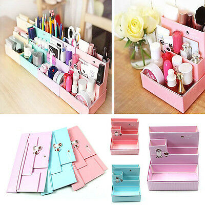 Practical Paper Board Storage Box Desk Stationery Makeup Cosmetic Home Organizer