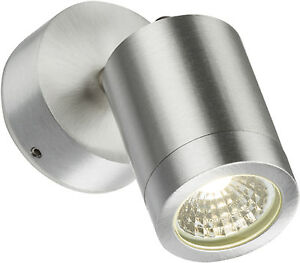 Aimable Outdoor Led Wall Light Chrome Brossé Réglable Jardin Lumière Ip65 - 3w Lampe Led-afficher Le Titre D'origine