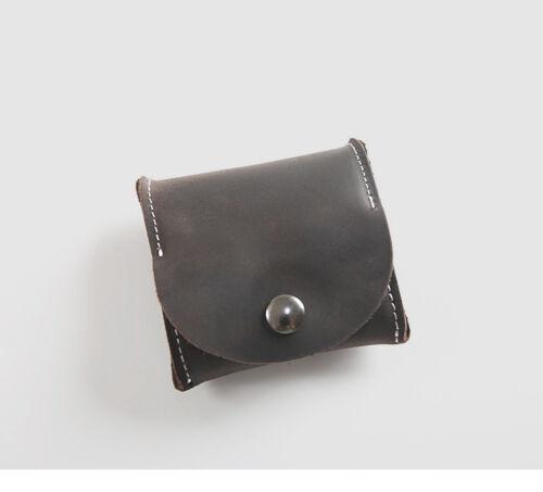 Vintage Véritable Cuir de vache Hommes Femmes Petit Poche Monnaie Porte-monnaie Mini Coin sac