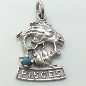 Astrological-Pisces-Fish-Sterling-925-Silver-Pendant-Charm-1-9-Grams-G001