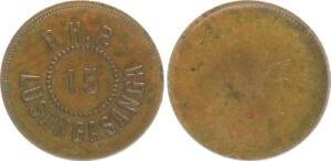 Deutsch-Ostafrika Lusangasanga Plantation 15 Heller Plantagengeld Patina VF XF