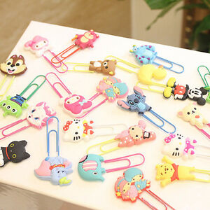 19Pcs Cute Cartoon Characters Paper Clip Bookmark Stationery SchoolOffice Supply