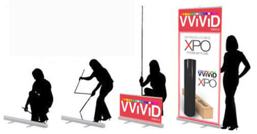 """Retractable 32/"""" x 79/"""" Advertising Banner Display Stand"""