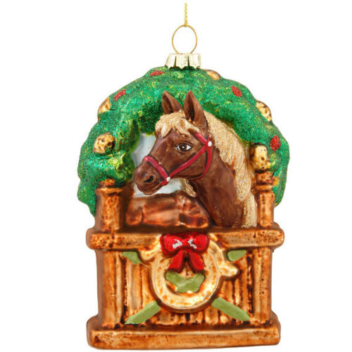Horse In Stable Glass Ornament