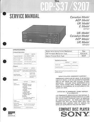 Sony Original Service Manual Für Cdp-s 37 S 207 SchöNer Auftritt Tv, Video & Audio