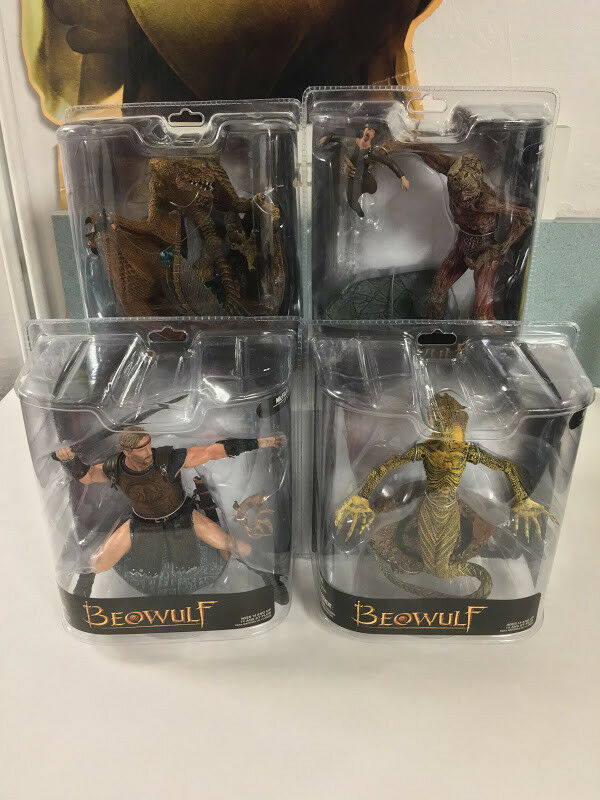 2007 Beowulf Lot Set of 4 YOUNG BEOWULF GRENDEL MOTHER DRAGON McFarlane Sealed