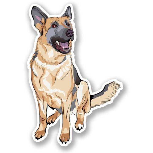 2 x Alsatian German Shepherd Dog Vinyl Sticker Laptop Travel Luggage #4304