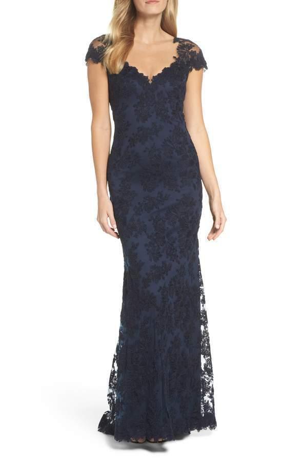 Neu Tadashi Shoji Bestickt Gerippt Spitze Abendkleid in Marine Blau - Größe 14p