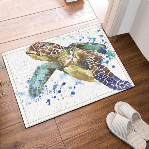 Bathroom Decor Sea Turtle Waterproof Fabric Shower Curtain Hooks Mat Rugs 71inch