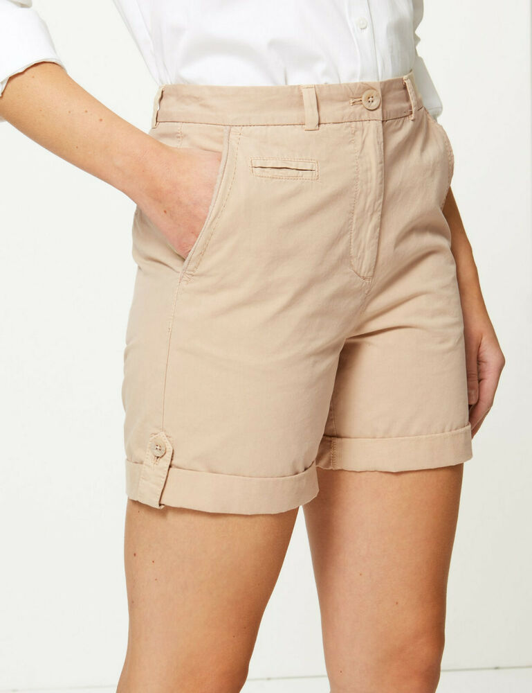 Bnwt M&s Collection Neutre Beige Pur Coton Short Chino Taille 24