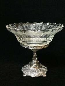 Antique-800-Silver-Germany-Centerpiece-with-Glass-Bowl-7-1-4-034-Tall-7-3-4-034-Wide