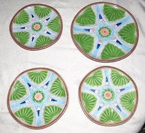 Strata-Group-Lotus-pattern-Majolica-FOUR-Plates-Three-8-034-amp-One-10-1-2-034-MINT