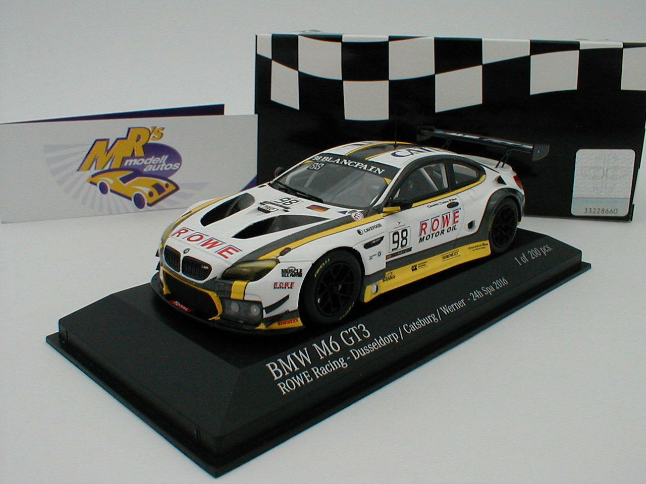 Minichamps 437162698 - BMW M6 GT3 ROWE Race 24h Spa 2016 Catsburg - Werner 1 43